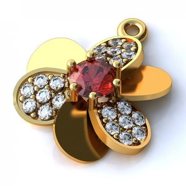 Кулон из желтого золота с рубином и бриллиантами