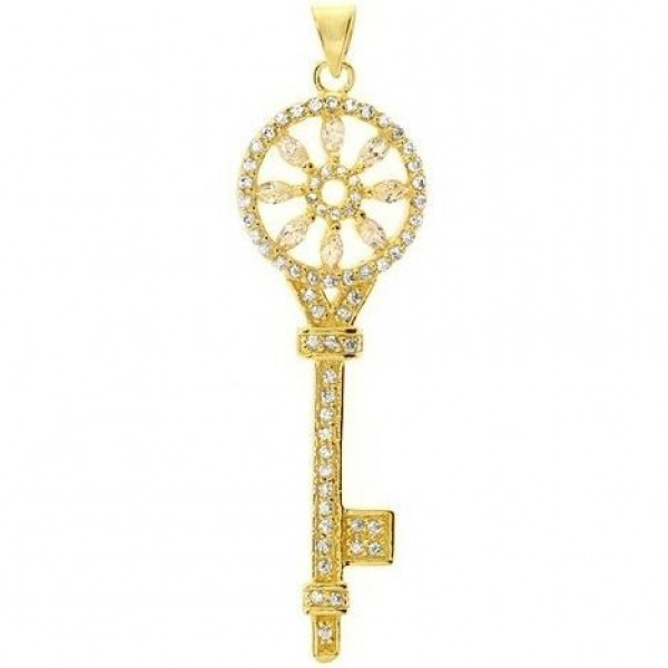 "Кулон ""Ключ"" из желтого золота с бриллиантами"