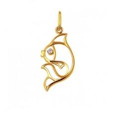 Кулон 'Рыбка' из желтого золота с бриллиантом..