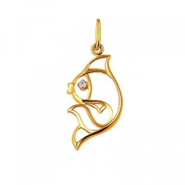 Кулон 'Рыбка' из желтого золота с бриллиантом
