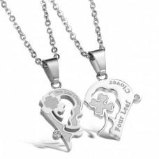 Кулон 'Сердце' для двоих из белого золота с бриллиантами..