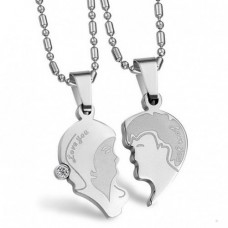 Кулон 'Сердце' для двоих из белого золота с бриллиантом..