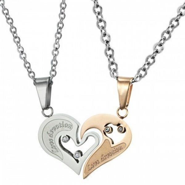 Кулон 'Сердце' для двоих из комбинированного золота с бриллиантами