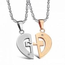 Кулон 'Сердце' для двоих из комбинированного золота с бриллиантами..