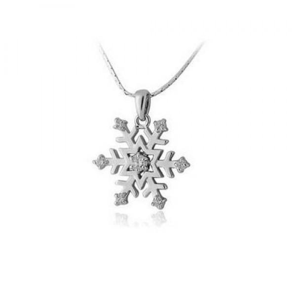 Кулон 'Снежинка' из белого золота с бриллиантами