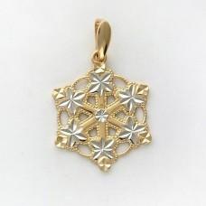 Кулон 'Снежинка' из комбинированного золота..