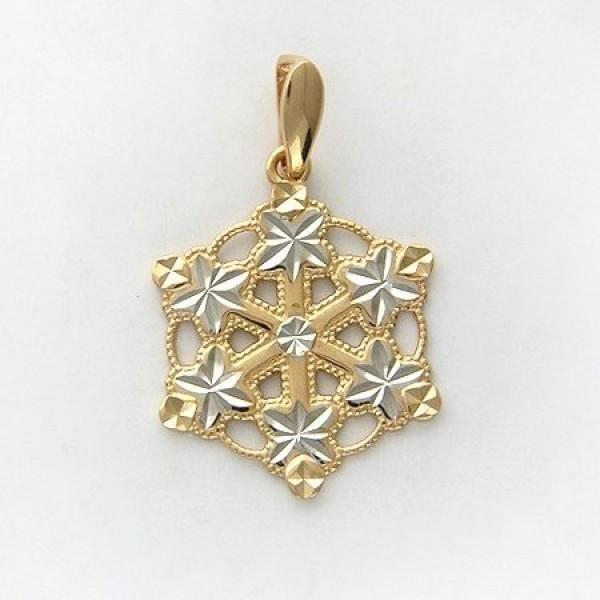Кулон 'Снежинка' из комбинированного золота