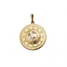 Кулон 'Три кольца' из комбинированного золота с бриллиантом..