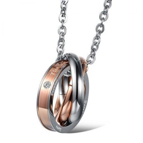 Кулон 'Три кольца' из комбинированного золота с бриллиантом