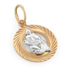 """Кулон """"Водолей"""" из комбинированного золота.."""