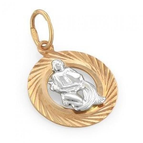 """Кулон """"Водолей"""" из комбинированного золота"""