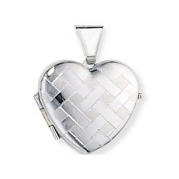 Медальон из белого золота в виде сердца