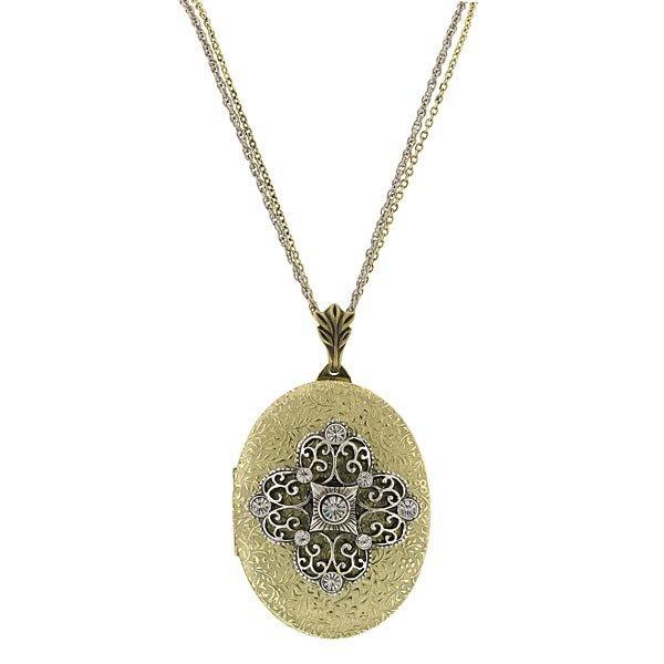 Медальон из комбинированного золота с бриллиантами