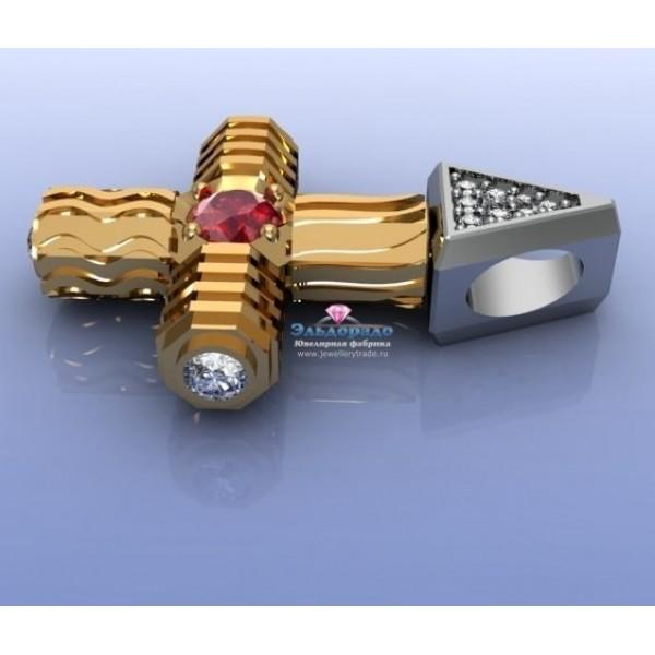 Мужской кулон 5 стихий из желтого золота с рубином и бриллиантами