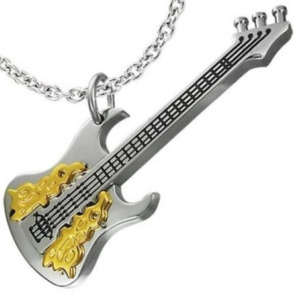 """Подвес """"Гитара"""" из комбинированного золота с эмалью"""