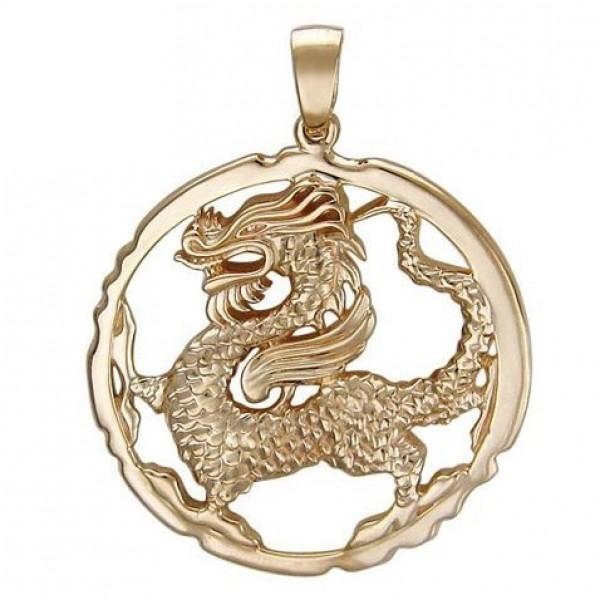 Подвес из желтого золота с драконом