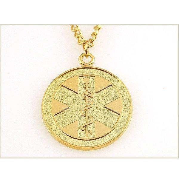 Подвес из желтого золота с символом медицины