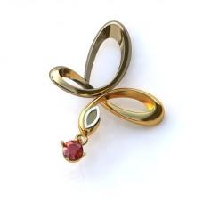 Серьги из комбинированного золота с рубином..