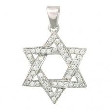 Звезда Давида из белого золота с бриллиантами..