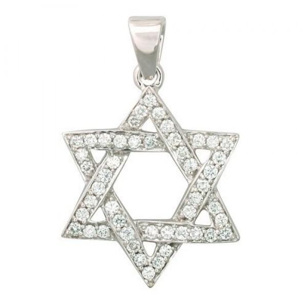 Звезда Давида из белого золота с бриллиантами