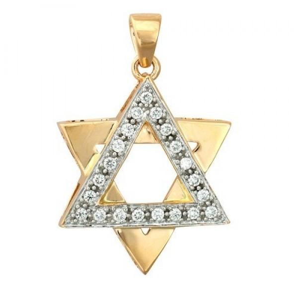 Звезда Давида из комбинированного золота с бриллиантами
