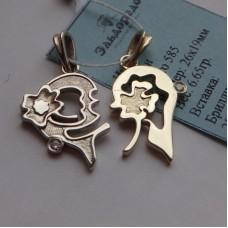 """Двойной кулон """"Сердце"""" из комбинированного золота с бриллиантами.."""