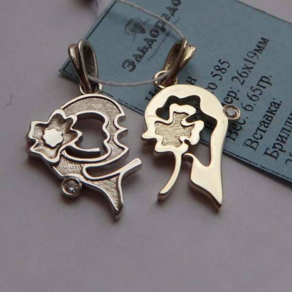 """Двойной кулон """"Сердце"""" из комбинированного золота с бриллиантами"""