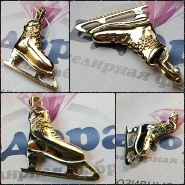 Кулон «Фигурный конек» из желтого золота