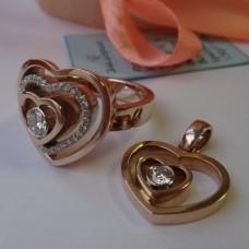 """Кулон из комбинированного золота с бриллиантом""""Сердце в сердце"""".."""