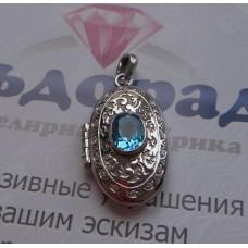 Медальон из серебра с Топазом и фианитами..
