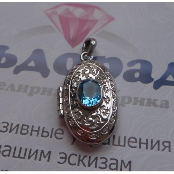 Медальон из серебра с Топазом и фианитами