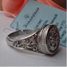 Эксклюзивный перстень из платины с иконой и молитвой..