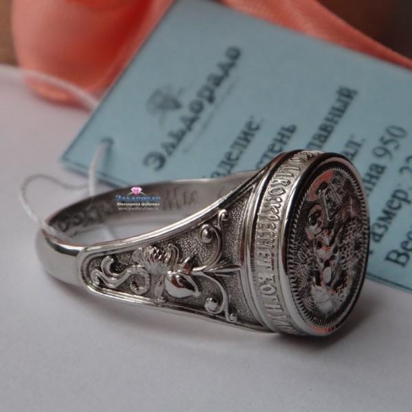 Эксклюзивный перстень из платины с иконой и молитвой