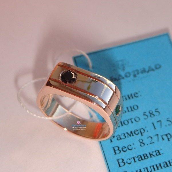 Кольцо из красного золота с черным бриллиантом и турмалином
