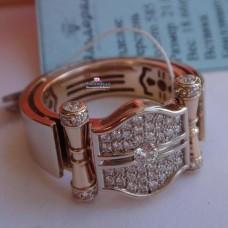 """Мужской перстень """"Чемпионский пояс"""" из комбинированного золота с брилл.."""