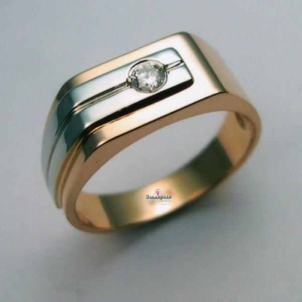 Печатка из комбинированного золота с бриллиантом