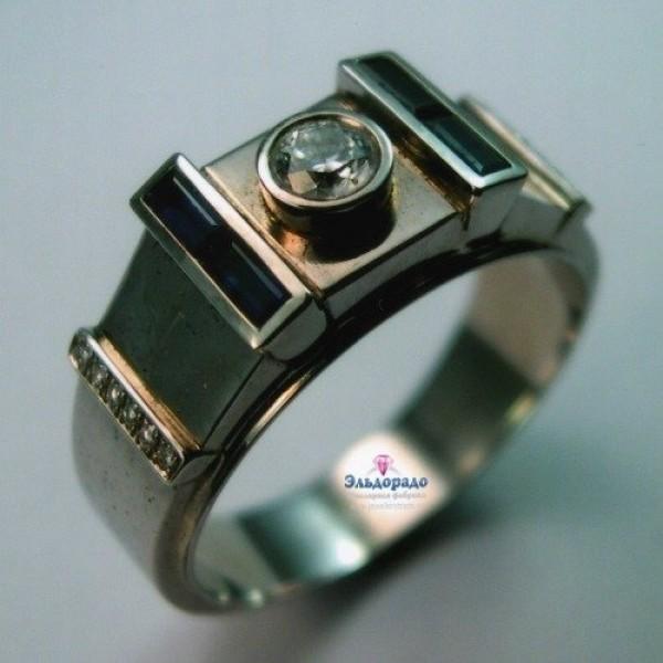 Перстень из белого золота с бриллиантом и турмалинами