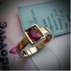 Перстень из жёлтого золота с рубином..