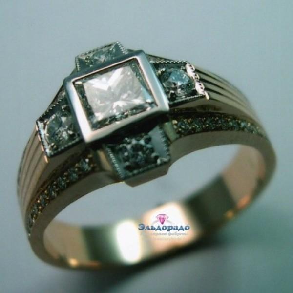 Перстень из комбинированного золота с квадратным бриллиантом