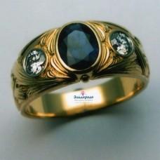 Перстень из желтого золота с бриллиантами и сапфиром..