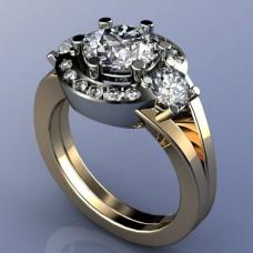 Кольцо из комбинированного золота с бриллиантами..