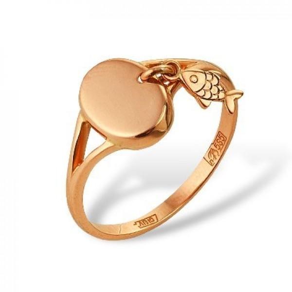 Кольцо из красного золота 'Рыбка'