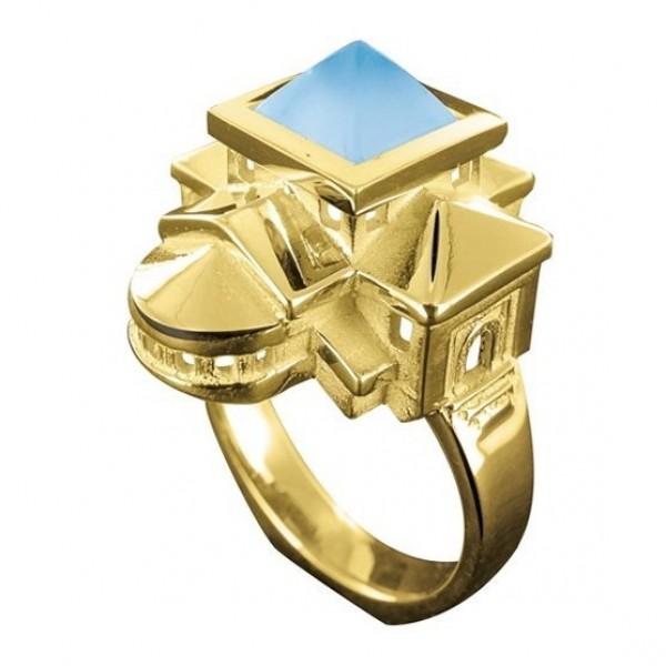 Кольцо из желтого золота 'Домики'