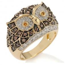 Кольцо из желтого золота с бриллиантами, рубинами и сапфирами..