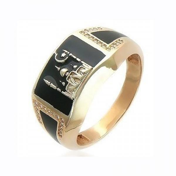 Кольцо из желтого золота с эмалью и бриллиантами