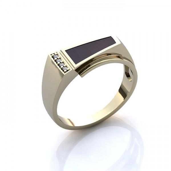 Мужской перстень из белого золота с бриллиантами и эмалью