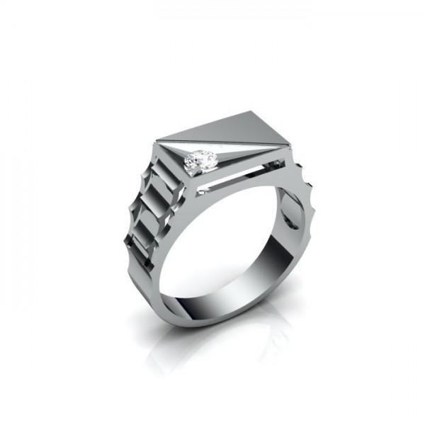 Мужской перстень из белого золота с двумя бриллиантами