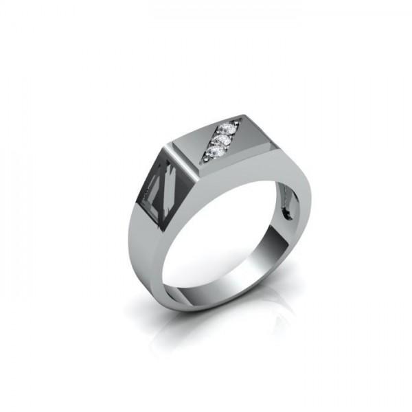 Мужской перстень из белого золота с тремя бриллиантами