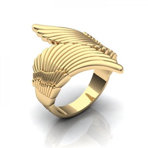 Мужской перстень из желтого золота 'Крылья'