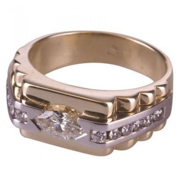 Печатка из комбинированного золота с бриллиантами